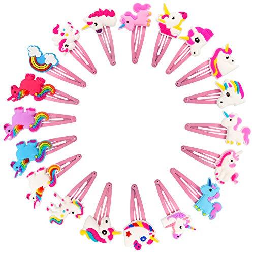 falllea 20 Piezas de Clips Pelo Pinza de pelo de Dibujos Animados Adorable Pernos de Pelo las Horquillas con el Patrón del Unicornio