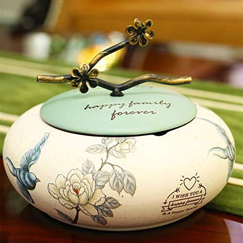 Cenicero oriental pintado a mano con tapas, cenicero retro de cerámica, ceniceros portátiles a prueba de viento, cenicero para uso en interiores o exteriores, decoración de la oficina (E)