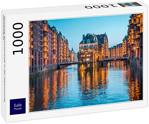 Lais Puzzle Hamburg Speicherstadt in der Dämmerung, Deutschland 1000 Teile