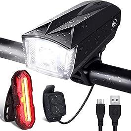 OMERIL Luci LED per Bicicletta Ricaricabili USB con Comando Remoto e Clacson, Super Luminoso Luci Bicicletta LED Impermeabile IP65, Luce Bici Anteriore e Posteriore per Bici Strada e Montagna, Nero