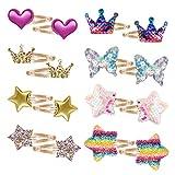 Jolintek Clips de Pelo para Niña Bebé, 16 Piezas Pinzas de Pelo Diseño de Estrellas del Arco Iris...