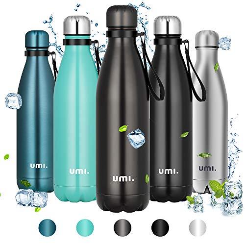 Amazon Brand - Umi Borraccia Termica, 750ml Bottiglia Acqua in Acciaio Inox, Senza BPA, 24 Ore Freddo & 12 Caldo, Borracce per Scuola, Sport, All aperto, Palestra, Yoga (Grigio)