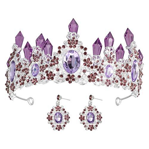 Strass kroon voor vrouwen Barokke ronde grote kroon Strass kralen Haar hoepel Bruiloft haaraccessoires Luxe kunstmatige parel Koningin kronen Bruids Tiaras (zilverkleurige lijst en paarse diamant + 1 paar oorbellen)