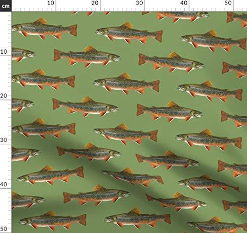 Fisch, Angeln, Forelle, See, Fluss Stoffe - Individuell Bedruckt von Spoonflower - Design von Weavingmajor Gedruckt auf Baumwoll Spandex Jersey