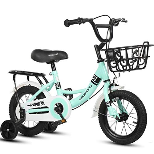 """JLFSDB Kids Bike Child's Bicycle Kids Bike, Boy Girl Scooter Bicycle 2 Wheeled Bikes for 2-11 Years, 12"""",14"""",16"""",18""""Child Bicycle with Training Wheels & Hand Brakes (Color : Blue, Size : 16inch)"""