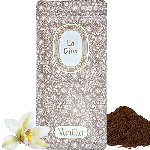 Vanillia • 45 g de vainilla en polvo de excepción «La Diva» • 100% de vainilla enteras • Bolsa fresca con cierre hermético y respetuoso con el medio ambiente • Descubre una boda divina.