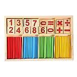 Blocchetti di conteggio di legno dei giocattoli educativi di matematica prescolare del bambino di legno variopinto che contano i bastoni Bastone di intelligenza matematica di legno multicolore della s