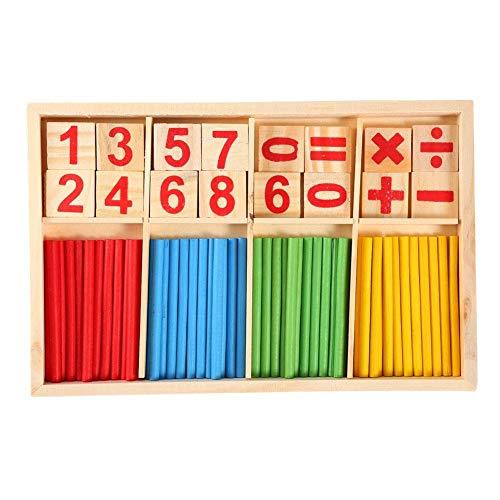 Qkissi Palos de conteo, Palos de Madera Coloridos, Bloques de construcción de Juguetes de educación Preescolar de matemáticas para bebés