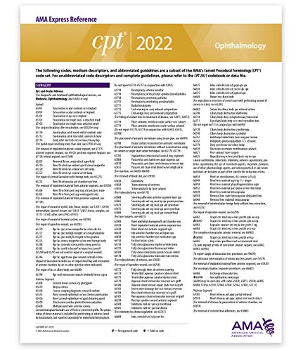 CPT Express Reference Coding Card 2022: Ophthalmology