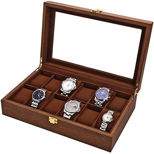 LOSKORIN Caja para 12 relojes, caja de madera con ventana de cristal, regalo para señor Dame