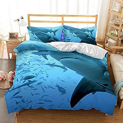 yiranjiafang Shark Style Series 3D Bedding Set Print Duvet Cover Set Lifelike Bed Sheet