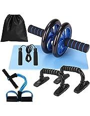 Lixada AB Wiel Roller Kit, buikpers Wiel Roller met Push-UP Bar Jump Rope en Knie Pad Draagbare Spieren Oefenapparatuur Kit voor Thuis Gym Workout Spierkracht Fitness
