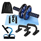 Lixada Rueda Abdominal Kit 5 en 1 con Push-UP...