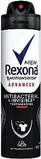 Desodorante Antitranspirante Aerosol Masculino Rexona Antibacterial + Invisible 72 horas 150ml, Rexona, Branco