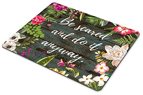 Smooffly Inspiring Creative Motivation Quote Mousepad, Be Scared and Do It Anyway Inspirational Quote Mouse pad Art Rustic Old Wood White Quote Photo #6