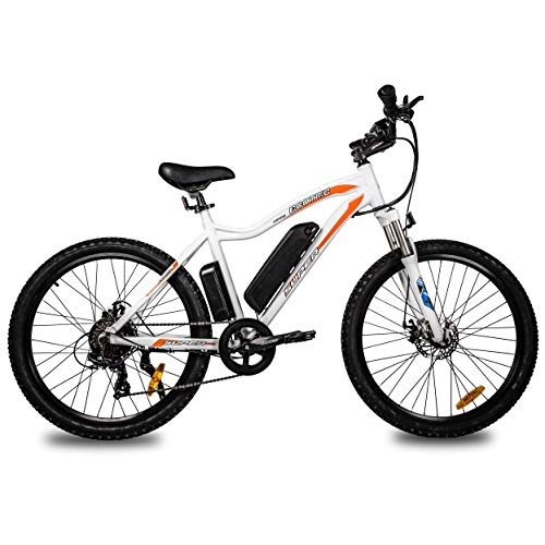 Mountain EBike Electric Bicycle Bike 26' Alloy Frame with 500W Powerful Motor 36V/13Ah Lithium Suspension Fork (White)