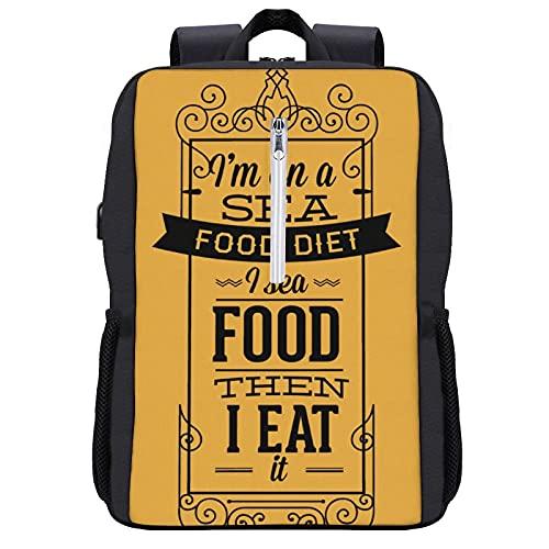 Rainnights Deportes divertidos Ocio al aire libre Camping Trekking USB Bag mochilas diseño Sea Food Diet Eat regalos para adultos unisex Hombres Mujeres Niños Niñas adolescente teeny youngst