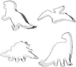4 Dinosaur Shaped Cookie Cutters – Stainless Steel Dino Shape Molds – T Rex Brontosaurus Pterodactyl Stegosaurus Shapes – ...