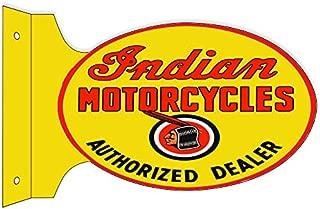 Garage Art Signs Indian Motorcycle Authorized Dealer Flange Metal Sign 12x18