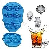 XMYNB Cubo de hielo 1 Unid 3D Skull Silicone Hielo Cubo Fabricante Formulario Para La Torta De Caramelo De Hielo Pudín Moldes De Chocolate 4 Molde De Hielo Celular Molde Cuadrado Moldes De Bandejas