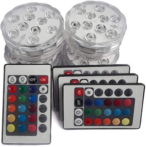 10 LED sumergible RGB Base luminosa impermeable para jarrón decoración mesa boda fiesta cumpleaños (4 paquetes)