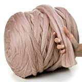 MeriWoolArt 100% lana de merino para punto y ganchillo con hilo de 4-5 cm de grosor, lana de merino gruesa para bufanda, manta y cojín XXL (capuchino, rollo de 4,5 kg)