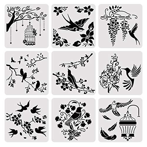 BENECREAT 9PCS 12x12 Zoll Vogel und Vogelkäfig Malerei Schablone Vorlage Quadratische Kunststoff Wiederverwendbare Schablone Kunst Set für Wand, Möbel, Boden, Fliesen Malerei und Sammelalbum
