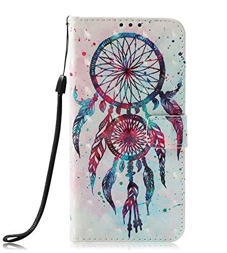 LG Stylo 4 Case, LG Stylo 4 Wallet Case, JanCalm [Kickstand][Card/Cash Slots] [Wrist Strap] [3D Painted Dream Catcher Pattern] Premium PU Leather Fold Flip Pouch Cover + Crystal Pen