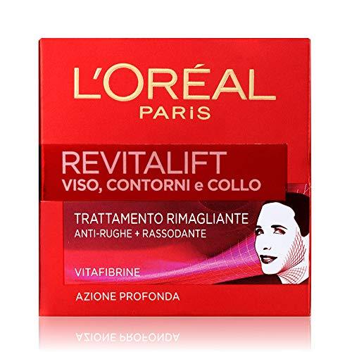 L'Oréal Paris Revitalift Crema Viso, Contorno e Collo Rimagliante Anti-Rughe e Rassodante, Azione Profonda, 50 ml