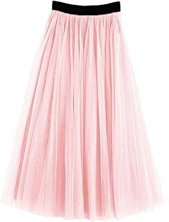 PauMaria Women's Midi Tulle Skirt Elastic Waist 3 Layered Mesh Formal Prom Party Tutu Skirt A Line