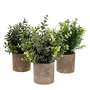 Yardwe 3pcs Artificial Potted Plants Flower Artificial Eucalyptus Plants Green Rosemary Plant Topiary Flower Ornament Table Centerpieces Wedding Decor for Garden Balcony Decor