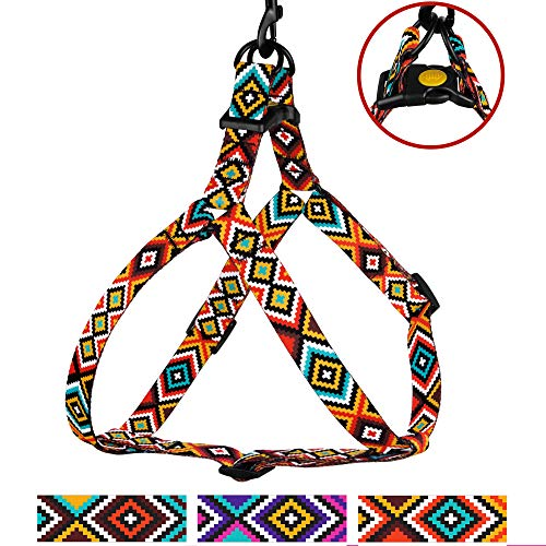 CollarDirect Adjustable Dog Harness Aztec Pattern Tribal Design Pet Step-in Vintage Comfortable Harnesses for Dogs Small Medium Large Puppy (Aztec Sunset, Small)