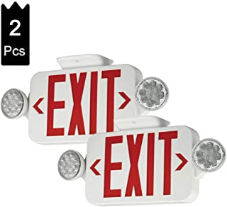 (2 Pack) LFI Lights UL Certified LED Round Emergency Light Exit Sign Hardwired Compact Combo with 2 Adjustable Head Lights,Red Emergency Exit Lighting Commercial Grade High Output