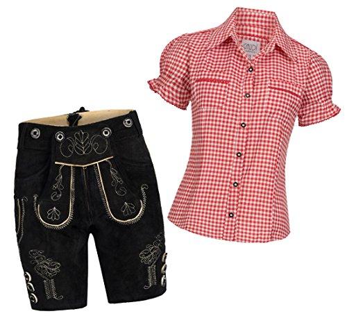 Damen Set Trachten Lederhose Shorts schwarz kurz + Träger + Trachtenbluse Mala 42 Rot Weiß Kariert 44