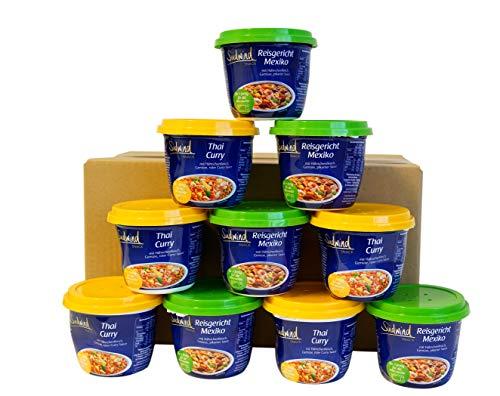 Snackpaket - 10 Gabelfertiggerichte zum Probieren - Fertiggerichte für die Mikrowelle / Wasserbad - Lebensmittelvorrat -Südwind Lebensmittel - Thai Curry und Mexikanisches Reisgericht