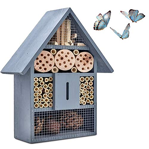 FOXNSK Wooden Insect Hotel, Natural Wood Insect Home Garden Shelter Bamboo Nesting Habitat Bees Butterflies Ladybugs Insects