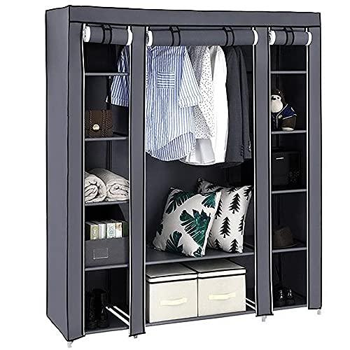 Lsooyys Canvas Wardrobe for Bedroom,Single Storage Wardrobe Closet Heavy-duty Storage Rack Drawers,Triple Open Free Standing Garment Railing ,Organizer Shelves 147x44x174cm (Gray)