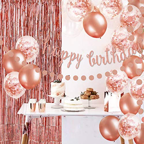 OuMuaMua Rose Gold Birthday Decorations for Women Girls - Happy Birthday Banner, Circle Dots Garland, Fringe Curtain, Rose Gold Confetti Balloons for Women Girl Birthday Party Decorations