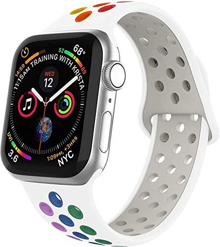 VIKATech Compatible Cinturino per Apple Watch Cinturino 44mm 42mm 40mm 38mm, Due Colori Morbido Silicone Traspirante Cinturini Sportiva di Ricambio per iWatch Series 5/4/3/2/1 (42mm/44mm S/M, Pride)