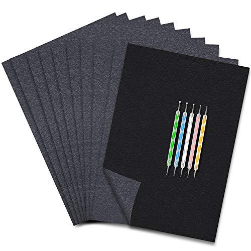 K KUMEED 125 Blatt Kohlepapier Din A4 Blaupapier, Blaupause Papier Durchschlagpapier Pauspapier Blaupapier A4 Kohlepapier Schwarz, Durchschlagpapier Schwarz Pauspapier A4 Kohlepapier & 5 Prägestift