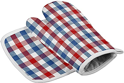 Independence Day Set of Oven Mitt and Pot Holder American Flag Heat Resistance Non-Slip Surface Oven Gloves for Holiday Blue White Red Check Plaid Flag Kitchen Cooking Baking Gri