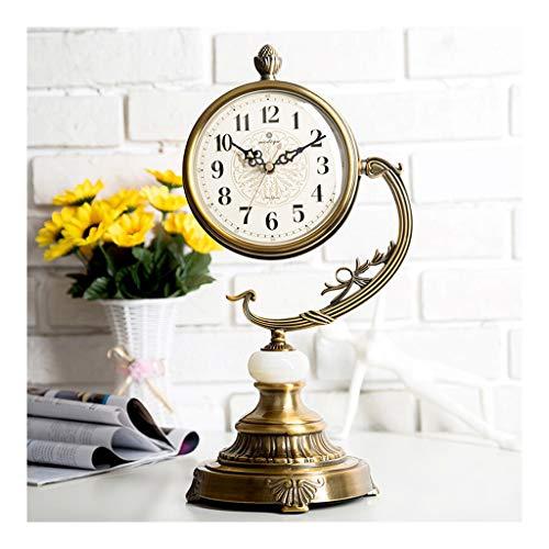 Yxx max -Zegar ścienny zegar stołowy takt europejski styl miedź zegar salon sypialnia siedzenie Clock Mute wysokiej jakości metal siedzący zegar kwarcowy blat stołu 42,5 cm wysokość zegar stojący zegar