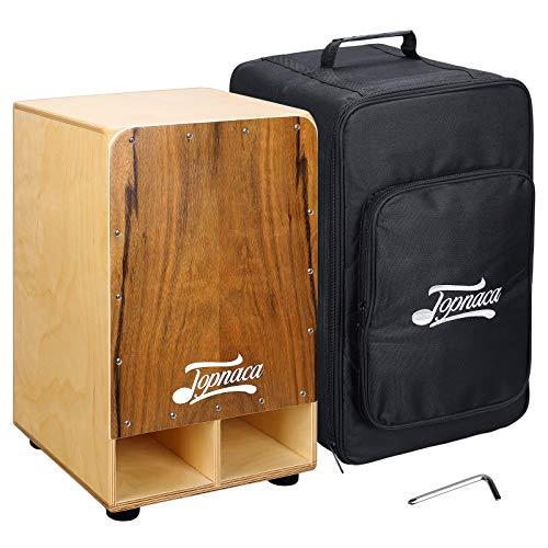 Topnaca String Cajon Box Drum, hölzerne Percussion-Box, mit internen Metall-Gitarrensaiten, Ebenholz Burst Frontplatte, Baltische Birke Körper, geeignet für Kinder, Jugendliche und Erwachsene
