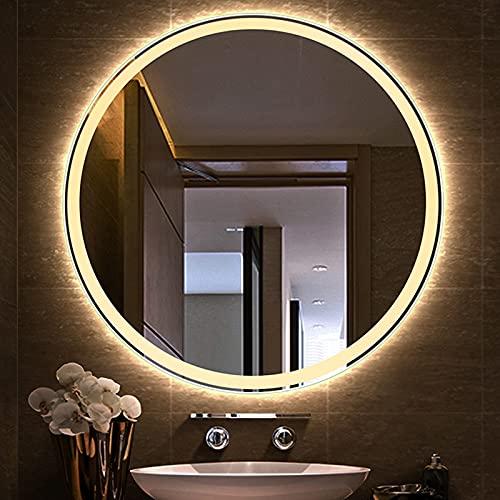 HHDD Espejo de Baño con Luz LED, Sala de Estar Redonda, Resistente al Agua, Espejo de Maquillaje de Pared Inteligente, Espejo Retroiluminado, Luz Blanca/Cálida