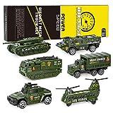 XDDIAS Set di 6 Veicolo Militare Giocattolo, Veicoli Militari modellini in Metallo Pressofuso Modelli Veicoli Giocattolo, Elicottero Serbatoio Jeep Truck Armored Car per Bambini ragazzo