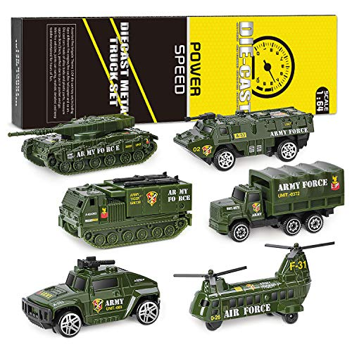 XDDIAS Vehículo Militar Juguete, 6 Pcs Mini Modelos Coche Militar de Juguete, Militares Helicóptero Tanque Jeep Camión Coche Blindado para Niños, Surtidos