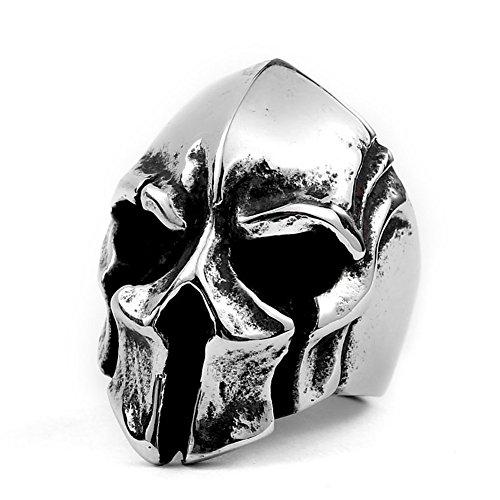 Excow Jewelry Spartan Warriors casco teschio anello in acciaio INOX Sparta maschera motociclista anelli per gli uomini e Acciaio inossidabile, 30, colore: Silver, cod. warrior-rings-897417