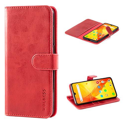 Mulbess Handyhülle für Xiaomi Mi 9 Hülle Leder, Xiaomi Mi 9 Handy Hüllen, Vintage Flip Handytasche Schutzhülle für Xiaomi Mi 9 Hülle, Wein Rot