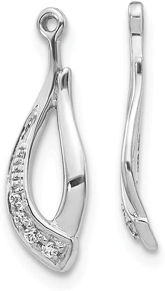 Solid 14K White Gold Twisted Teardrop Diamond Earring Jackets - 18mm x 6mm (.038 cttw.)