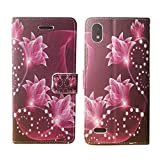 Wallet Pouch Card Holder Protective Case Phone Cover Case Phone Cover for ZTE Blade T2 Lite Z559DL + Gift Stand (Purple Lotus)